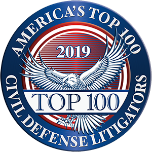 America's Top 100 Civil Defense Litigators 2019® Recipient Award