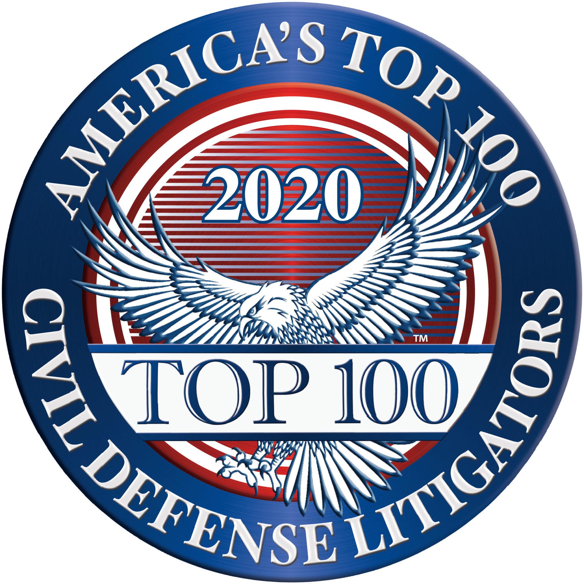 America's Top 100  Civil Defense Litigators 2020® Recipient Award